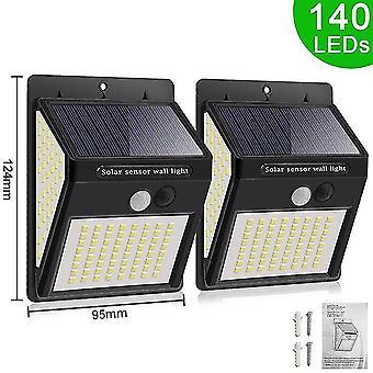 140/288/308 Led luce solare per esterni 3 modalità ip65 lampada da parete impermeabile con sensore di movimento pir strada