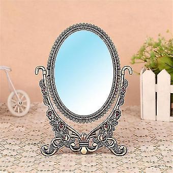 Specchio da trucco europeo biface vintage metallo piccolo ovale desktop makeup specchio principessa specchio
