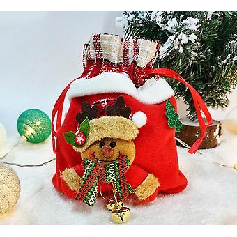 Mimigo 23cm * 18cm Sacs de Noël, 3d Sacs cadeaux de Noël Candy Goodie Bags, Red Treat Pouch Bags, Bas de sac, Party Favor Bags Bonhomme de neige tridimensionnel