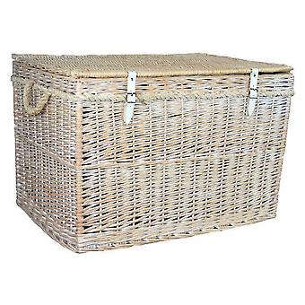 Large White Wash Finish Storage Wicker Basket