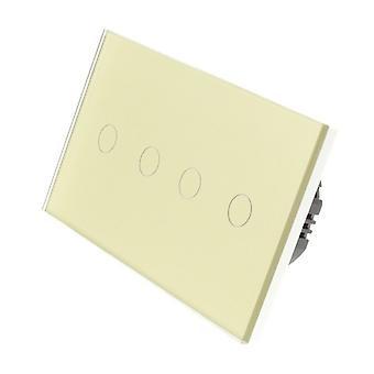Я LumoS золото стекла двойной панели 4 банды 1 переключатель Светодиодные Touch удаленный путь WIFI / 4G