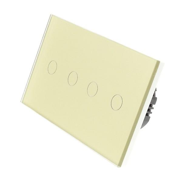 I LumoS Gold Glass Double Panel 4 Gang 2 Way Touch LED Light Switch