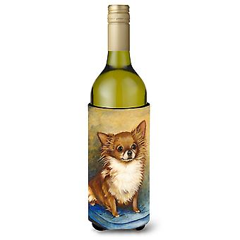Chihuahua Long Hair Brown Wine Bottle Beverage Insulator Hugger