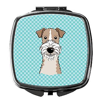 Schachbrett blau Wire Haired Fox Terrier Taschenspiegel