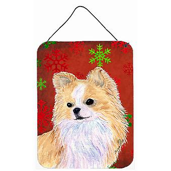 Chihuahua rossa dei fiocchi di neve vacanze Natale parete o porta appeso stampe