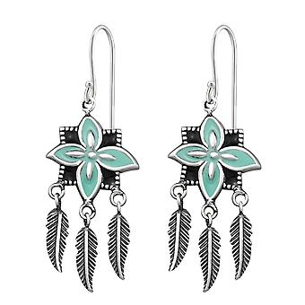Flower Earring With Hanging Feather - 925 Sterling Silver Plain Earrings - W31291X