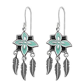 Pendientes de flor con colgantes de plumas - aretes de llanura de plata esterlina 925 - W31291X