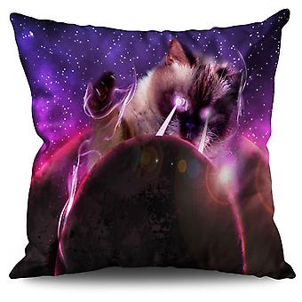 Space Cat Laser Eye Linen Cushion 30cm x 30cm | Wellcoda