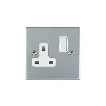 Hamilton Litestat Hartland Satin Chrome 1g 13A DP Switched Socket WH/WH