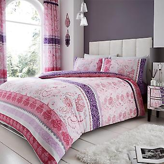 Kira paisley Stripes Duvet Cover Polycotton Printed Floral Bedding Set All Sizes