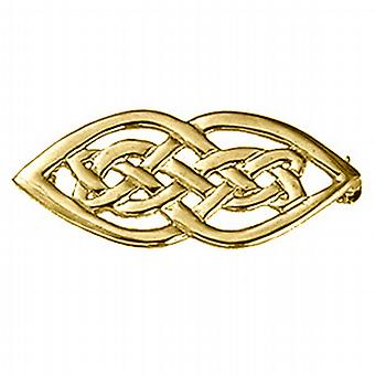 9ct Gold 21x40mm Celtic knot design Brooch