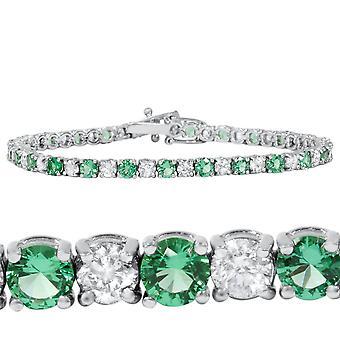 ct 3 Esmeralda y Diamante genuino tenis pulsera 14K de oro blanco