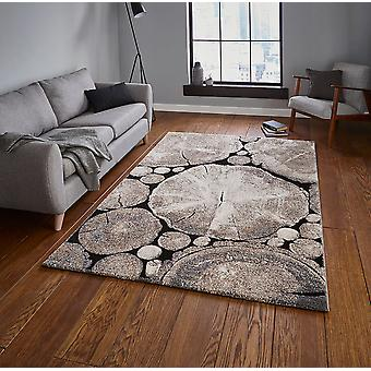 Woodland Think 6318 Beige Black  Rectangle Rugs Modern Rugs