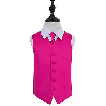 Varm rosa ren Satin bryllupet vest & Tie satt for gutter