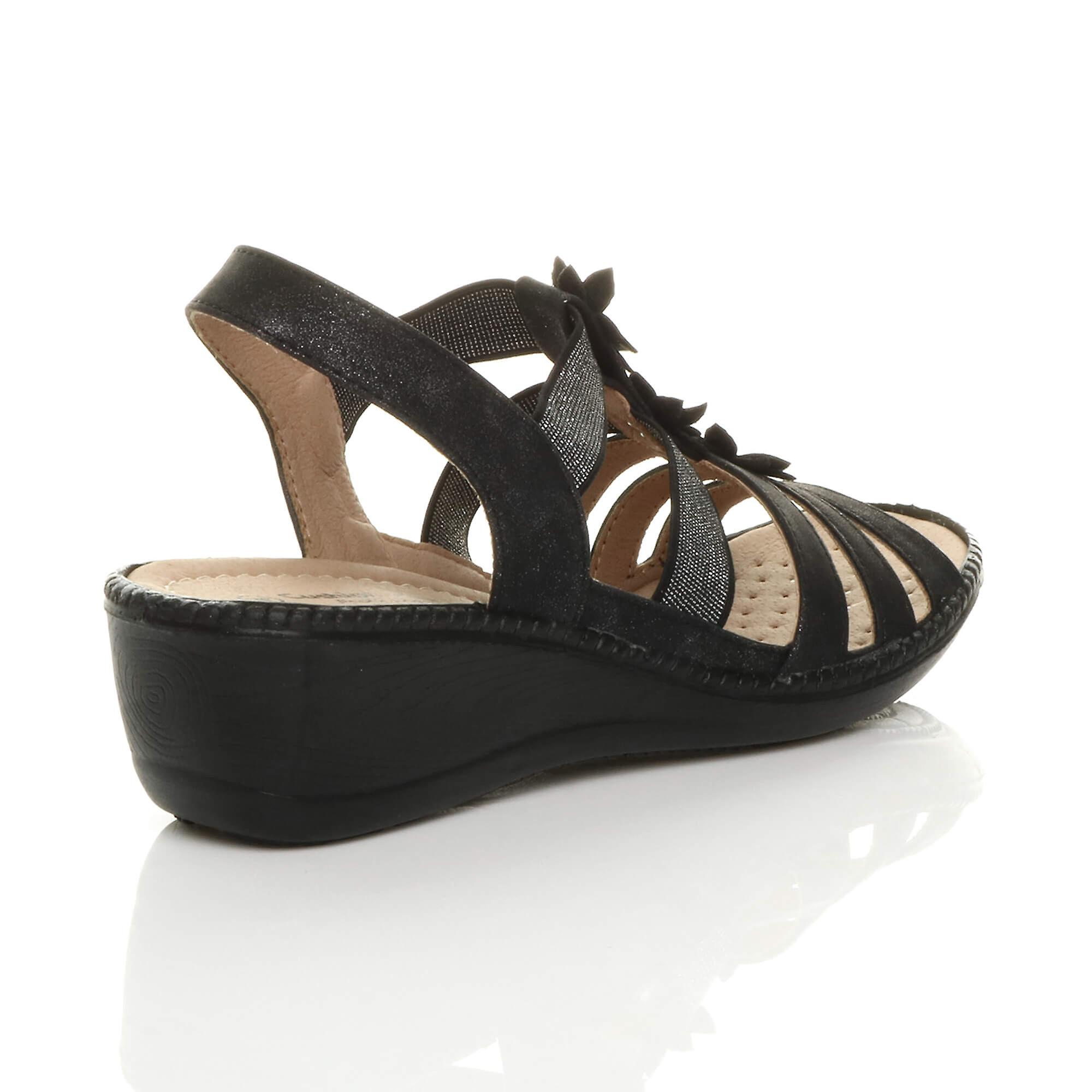 Ajvani womens low mid wedge heel t-bar gladiator slingback comfort sandals