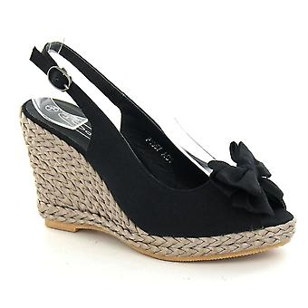 Ladies Spot On High Braided Wedge Sling Peep Toe Sandals