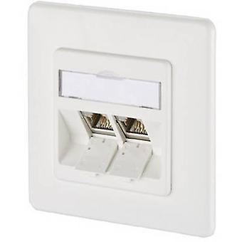 Metz Connect 1309121002-E Network outlet Flush mount Insert with main panel and frame 2 ports Pure white