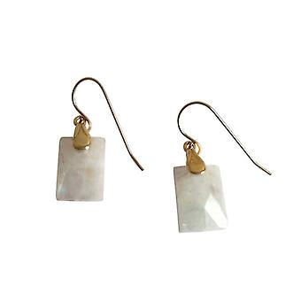 Gemshine - ladies - earrings - gold plated - Moonstone - white - 2 cm