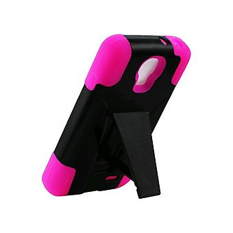 Reiko - Silicone Case Plus Protector Cover for LG F70 4G LTE D315 - Hot Pink/Black