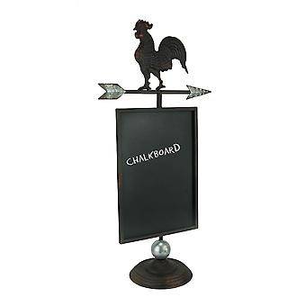 Rustic Brown Metal Farmhouse Rooster and Arrow Standing Chalkboard Sign