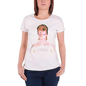 Official Womens David Bowie T Shirt Aladdin Sane Face new Skinny Fit White