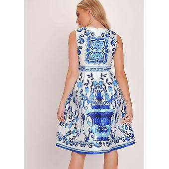 Floral Print Prom Skater Kleid weiß