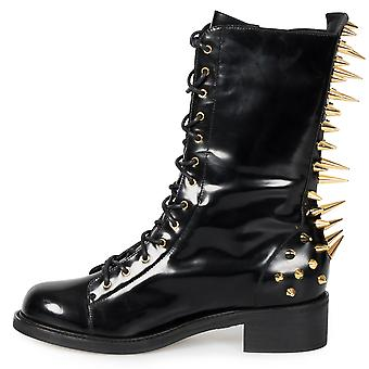 Giuseppe Zanotti Blok Spiked Military Black Patent Leather Boots