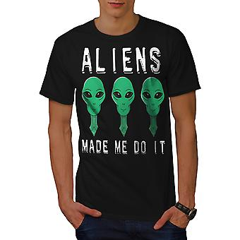 Aliens Mystery Funy Men BlackT-shirt | Wellcoda