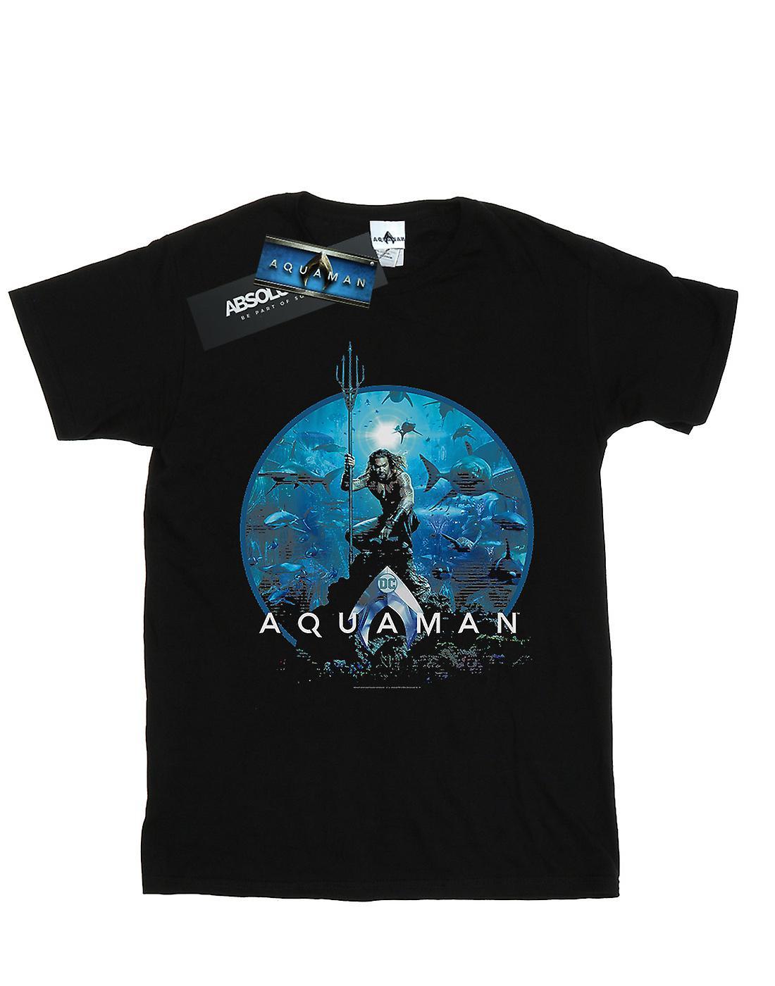 DC Comics Women's Aquaman Circle Poster Boyfriend Fit T-Shirt