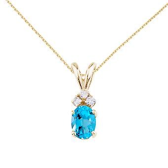LXR 14K Yellow Gold Oval Topaz and Diamond 1 ct