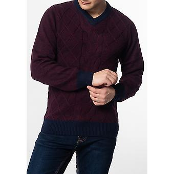 Merc HATCLIFFE, Cable v-neck jumper with ribbed hem and cuffs