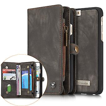 CASEME iPhone 6s 6 Plus Retro Split leather wallet Case Grey
