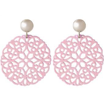 Boucles d'oreilles Gemshine Women's Yoga Mandala Circle Argent ou Gilded - Rose 3.5 cm
