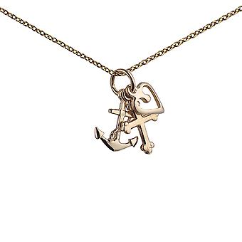 9ct Gold 10x8mm Faith, Hope and Charity Pendant with a 1.1mm wide cable Chain 20 inches
