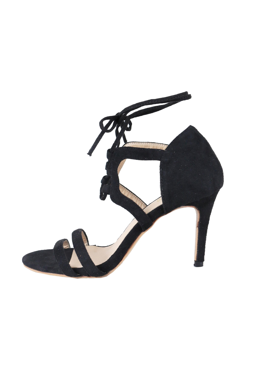 Lovemystyle sznurowane sandały obcasie w kolorze czarnym SGr9w