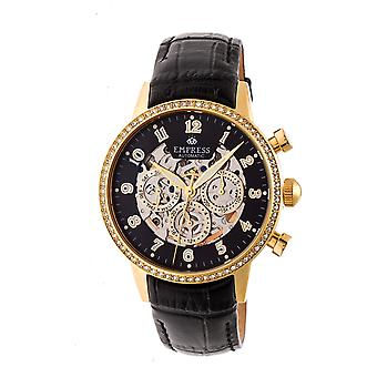 Empress Beatrice Automatic Skeleton Dial Leather-Band Watch w/Day/Date - Gold/Black