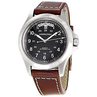 Automatische mannen Hamilton analoge horloge met lederen H64455533