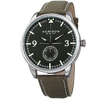 Akribos XXIV AK938GN pienet sekunnit aitoa nahkaa ja Canvas hihna Watch