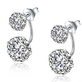 925 Sterling Silver Crystal Double Earrings