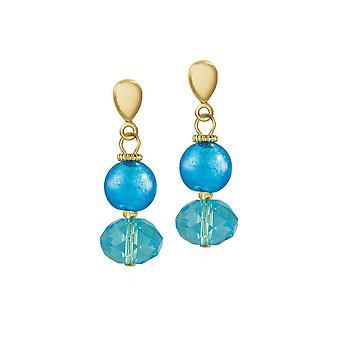 Eeuwige collectie Arezzo Turquoise Venetiaanse Murano Glass drop clip op oorbellen