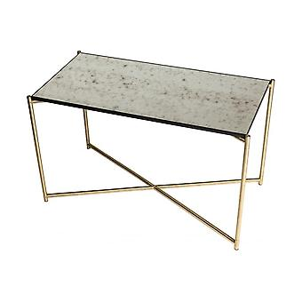 Gillmore Antiqued Glass Rectangular Side Table With Brass Cross Base