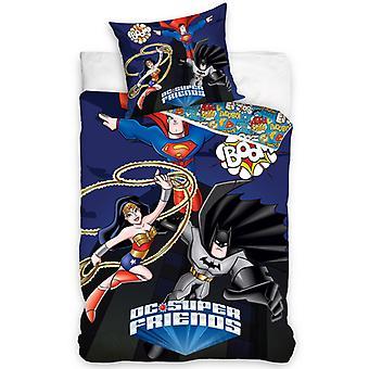 DC Super Friends Super-Heróis Single Duvet Cover Set - Tamanho Europeu