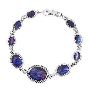 Eternal Collection Tidal Purple Paua Shell Cabochon Silver Tone Bracelet