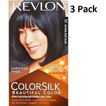3 x Revlon Colorsilk ammoniak gratis permanente haarkleur (12 natuurlijke blauw zwart)