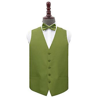 Olive Green Plain Shantung Wedding Waistcoat & Bow Tie Set