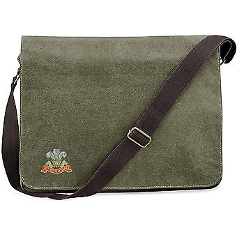 10th Royal Hussars Colour - Licensed British Army Embroidered Vintage Canvas Despatch Messenger Bag