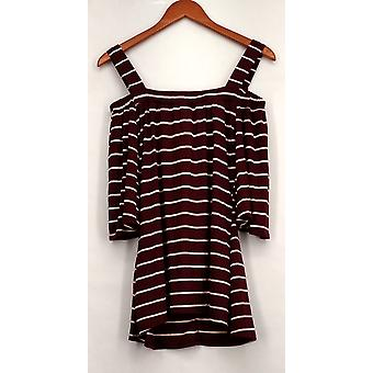 OSO Casuals Top 3/4 Sleeved Squared Neck Burgundy Red Womens A428783