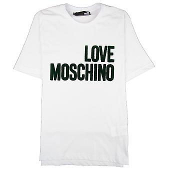 Love Moschino Grass camiseta con logotipo blanco