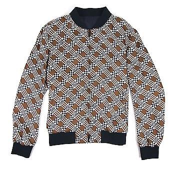 Fendi reversível geométrica impressão de seda Bomber jaqueta natural Damier cheques