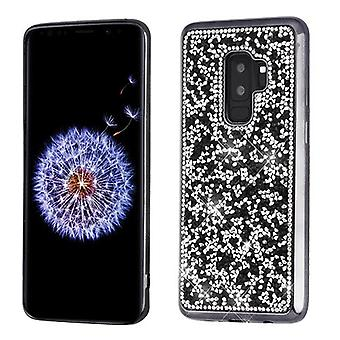 MYBAT Black Mini Crystals Rhinestones Desire Candy Skin Cover (with Electroplated Black Frame) for Galaxy S9 Plus
